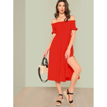Red Frill Trim Slit Hem Bardot Dress