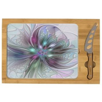 Colorful Fantasy, abstract and modern Fractal Art Cheese Platter
