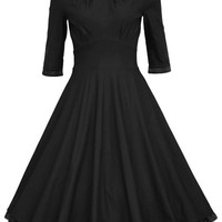 Amstt 3/4 Sleeve Ruched Waist Classy 50's Vintage Casual Cocktail Dress
