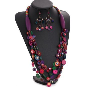 ac spbest 2015 Newest charm luxurious 's dopaminergic multi-layer colorful wood bead knitted coconut shell necklace N216-2