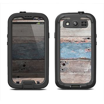 The Multicolored Tinted Wooden Planks Samsung Galaxy S3 LifeProof Fre Case Skin Set