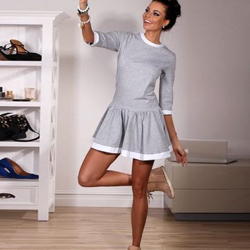 Grey Half Sleeve Dress