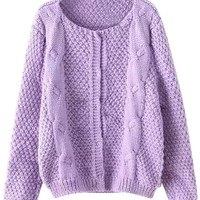 Purple Knit Fall Fashion Cardigan