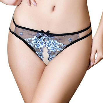 3 Colors Sexy Women G-String Open the crotch Women Underwear Ladies Embroidered Spandex+Lace Panties Lingerie culotte femme &03 BL