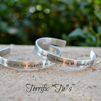 I'll Love You Forever- Mother and Daughter Aluminum Cuff Bracelet Set