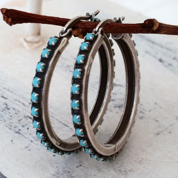 Oxidized silver hoop earrings, Turquoise rhinestone hoop silver earrings, Turquoise hoop earrings, Gold or silver, modern everyday hoops