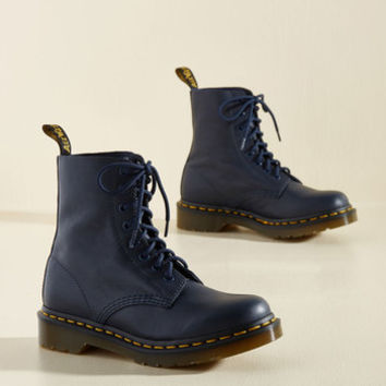 March Through Manhattan Leather Boot in Navy | Mod Retro Vintage Boots | ModCloth.com