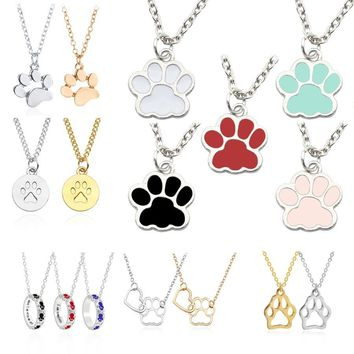 Lovely Pet Cat Dog Paw Necklace Women Gold Silver Enamel Animal Claw Foot Print Necklaces & Pendants Jewelry Gift For Dog Owners
