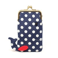 Supermarket: Navy whale iPhone kisslock clutch from Misala Handmade Bags & Purses