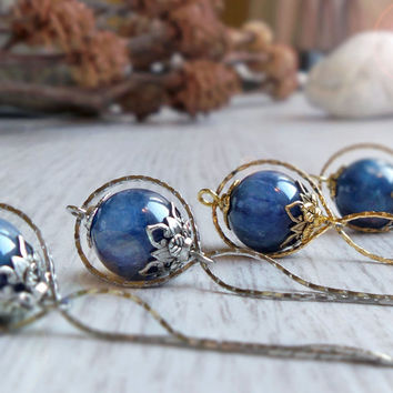Blue kyanite necklace, infinity necklace, high quality gemstone globe necklace, bridal bridesmaid jewelry, beadwork