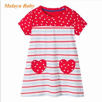 Malayu baby 2017 explosion model in Europe and the United States beautiful girl cool summer dress, striped cartoon rabbit dress