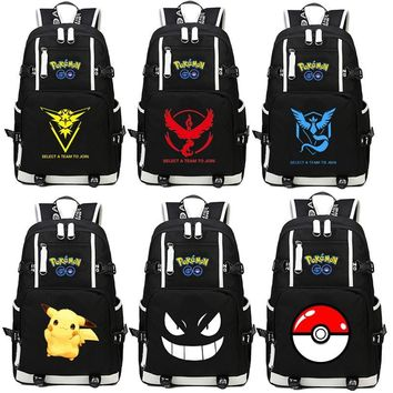 Pocket Monsters Pikachu Backpack Cosplay  Go Gengar Anime Canvas Bag Luminous Schoolbag Travel BagsKawaii Pokemon go  AT_89_9