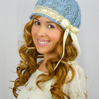 Blue Knitted Beanie Women's Hat with Bow Blue Crochet Beanie Hat Hats for Women Adult cap Lace Hat Blue Hat Crochet Hat Cute Knit Beanie Hat