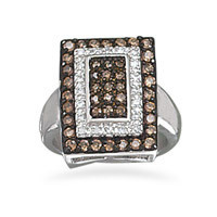 Rhodium Plated Rectangle Chocolate and Clear Cubic Zirconia Ring