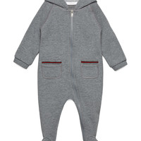 Hooded Zip-Front Raglan Footie Pajamas, Gray, Size 0-18 Months, Size: 6-9 Months, LIGHT GRAY - Gucci