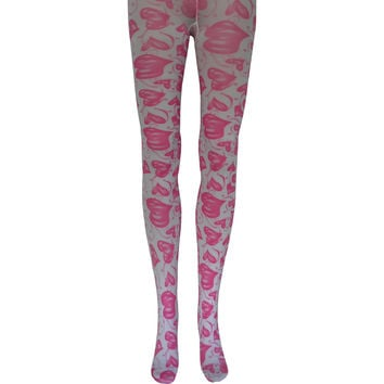 Hugs & Kisses Tights in Pink and White