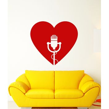 Vinyl Wall Decal Retro Microphone Heart For Singer Karaoke Club Stickers (3299ig)