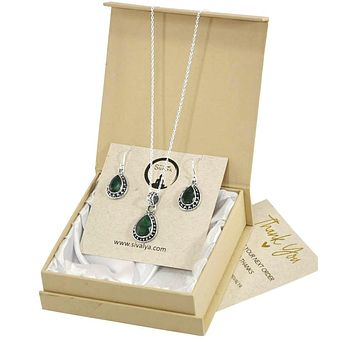 Aurora Raw Emerald Necklace and Earrings Set in Sterling Silver