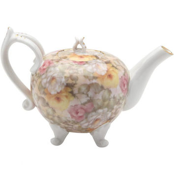 Victorian Cream Rose Ramble Footed Teapot
