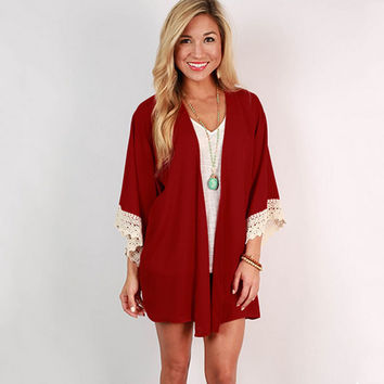 Collarless Chiffon Lace Hem Cardigan