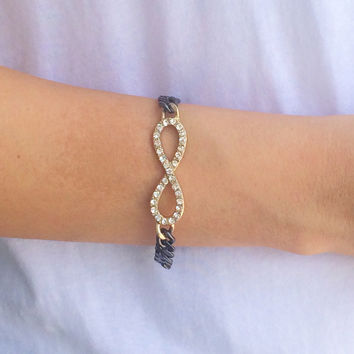 Chrome Chained Infinity Bracelet
