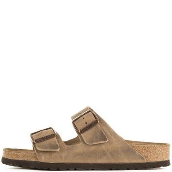 DCCK Birkenstock Unisex: Arizona Waxy Leather Soft Footbed Tobacco Brown Sandals