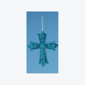 ONETOW 5' Aqua Blue Glitter Drenched Latin Cross Christmas Ornament