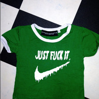SWEET LORD O'MIGHTY! JUST FUCK IT RINGER TEE IN GREEN