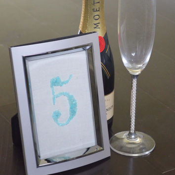 Teal Table Numbers, Framed Table Numbers, Wedding Table Numbers, Sea Glass Table Numbers, Beach Wedding, Beach Table Numbers, Custom Unique