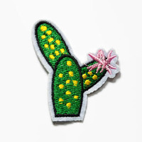 Iron on Patch Flower Cactus -  Small Embroidered Cactus Embroidered Cactus Plant Quirky Patch - Jacket Patch - Pressed on Patch Pink Flower