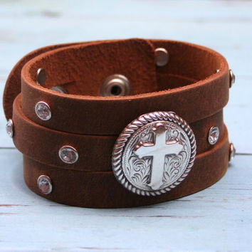 Religious Christian Cross Silver Rhinestone Brown Leather Boho Southwestern Cuff Bracelet