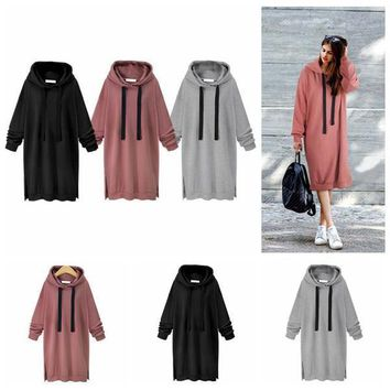 Women Casual Hooded Hoodie Long Sleeve Solid Color Sweater Loose Hoodie Long Tunic Sweatshirts Plus Hoodie Maxi Dress OOA3932