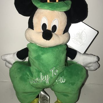 "Disney Parks 2019 Mickey Mouse St. Patrick Day Lucky to Know You Plush 11"" New"