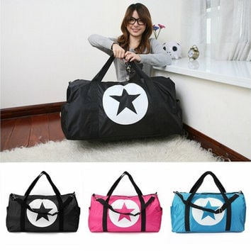 Large Unisex Travel Star Waterproof Nylon Men Women Bag Sports Gym Duffle Bag Lightweight  [10198320903]