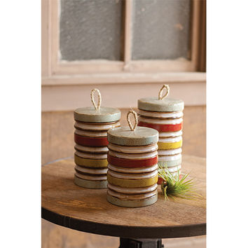 Kalalou CDV1475 Multi-Colored Striped Cylinder Canisters with Sisal Pulls, Set of 3