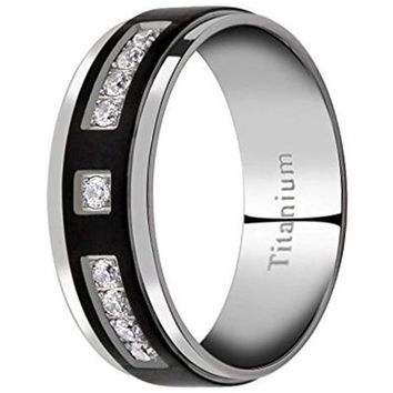 CERTIFIED 8mm Men's Titanium Ring Wedding Band Silver Black Round Cubic Zirconia