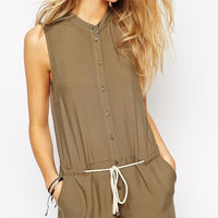 Brown Button Down Romper with Waist Strap