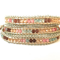 Wrap Bracelet With Crystals, and Metal Edging - Cream, Peach, Blue