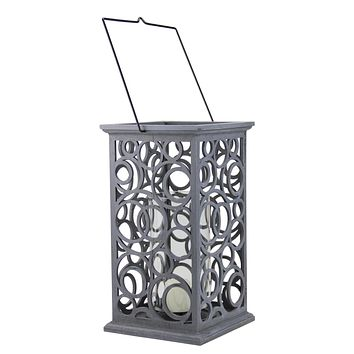 """13"""" Gray Brushed Cut-Out Circle Design Pillar Candle Holder"""