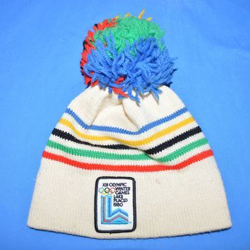 80s Winter Olympic Games Lake Placid 1980 Knit Ski Hat