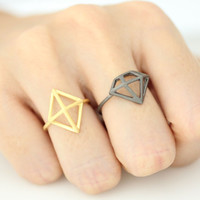 Adjustable 3D Diamond Ring Cutout Ring - available color as listed( Gold, Silver, Antique Black)