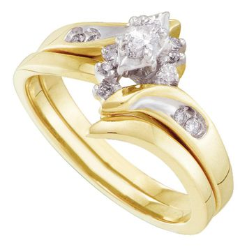 14kt Yellow Gold Womens Marquise Diamond Bridal Wedding Engagement Ring Band Set 1/6 Cttw