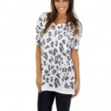 White Leopard Short Sleeve Top