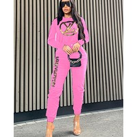 Free shipping-LV new women's sports suit two-piece pink