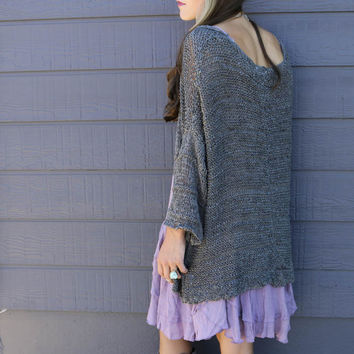 Warm Sentiments Oversized Ash Gray Open Knit Cardigan