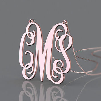 Pink rose gold plated necklace perfect gift 1 inch monogram necklace customized