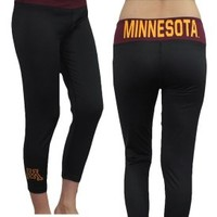 Womens MINNESOTA GOLDEN GOPHERS Sports Skinny Leggings / Yoga Capri Pants