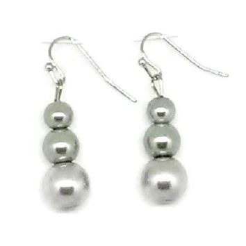 Gray Triple Glass Pearl Beaded Earrings