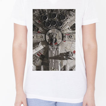 Womens Custom V-Neck - Millenium Falcon