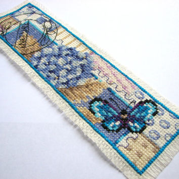 Floral Bookmark  -Butterfly Book Marks, Lilac, Hydrangea Garden Cross Stitch Bookmarker, Nature Stitched Page Marker